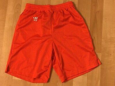 Men's Boys Adult Small Authentic Warrior Orange lacrosse soccer shorts NEW