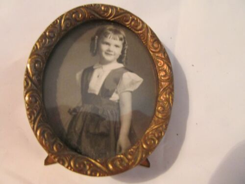 Vintage Oval Petite Brass Standing Picture Frame 2-1/2 Inches Circa 1890