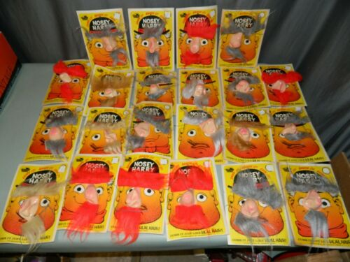 22 NEW OLD STOCK Vintage NOSEY HARRY Halloween Masks Nose Mustache Eyebrows LOT