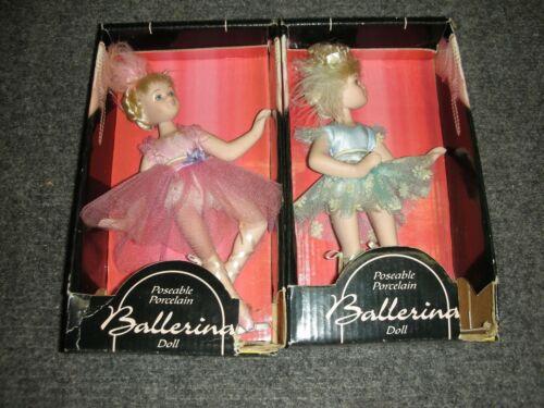2 POSEABLE PORCELAIN BALLERINA DOLL