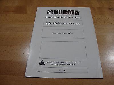 Kubota B270 Rear Mount Blade Owners Manual Parts Catalog B Series Tractors