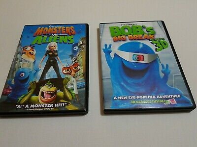 Bob Monsters Vs Aliens (LOT OF 2 DVD'S MONSTERS VS ALIENS AND BOB'S BIG BREAK 3D WITH GLASSES)