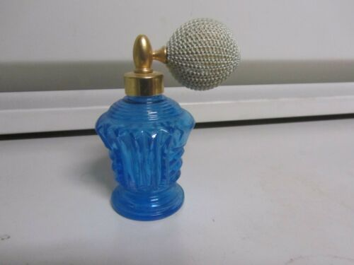 Blue Cut Glass Perfume Bottle With Pump