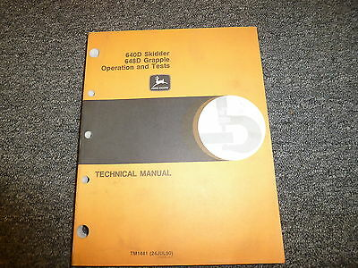 John Deere 640d Skidder 648d Grapple Operation Test Service Repair Manual Tm1441