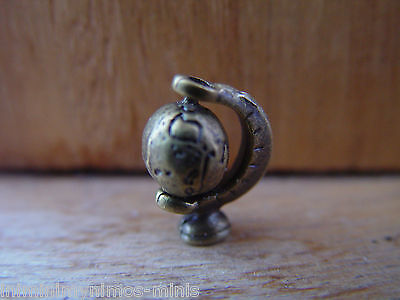 DOLL HOUSE SCALE 'BRONZE' STYLE METAL SPINNING WORLD DESK GLOBE !!
