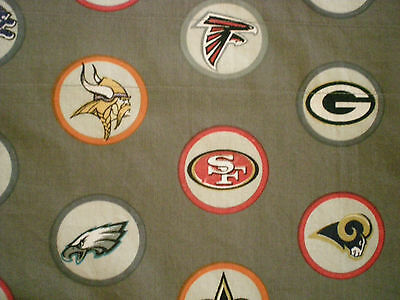 Custom Valance~ Footballl Logos~ NFL Stone or Gray Fabric  Pottery barn Teen (Pbt Material)