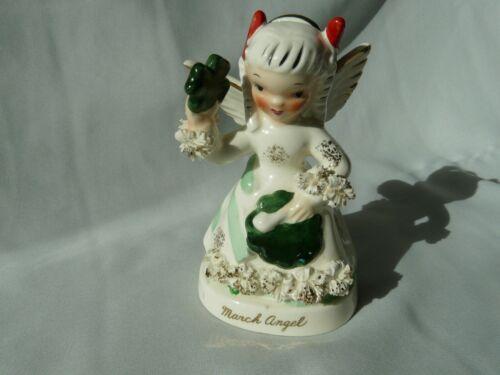 Vintage 1956 Napco March Angel Figurine Girl with St. Patrick Day Shamrock
