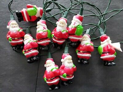 RARE Vintage Blow Mold Mini Santa Claus w Bag 10 Light Strand Christmas Queen