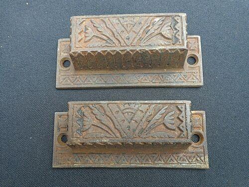 pair (2) marked 0183 Cast Iron drawer / seed bin pulls Antique Eastlake Hardware