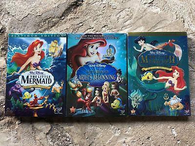 The Little Mermaid Trilogy Disney DVD Bundle 1 2 and Ariel's Beginning!  * NEW *