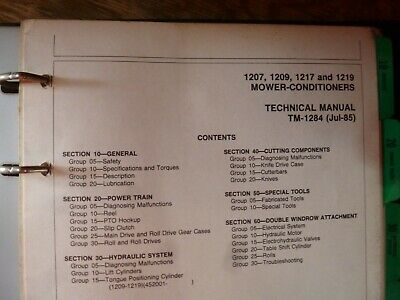 John Deere 1207 1209 1217 1219 Mower Conditioner Service Repair Manual Tm-1284