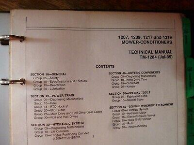 John Deere 1207 1209 1217 1219 Mower Conditioner Service Repair Manual Tm-1284