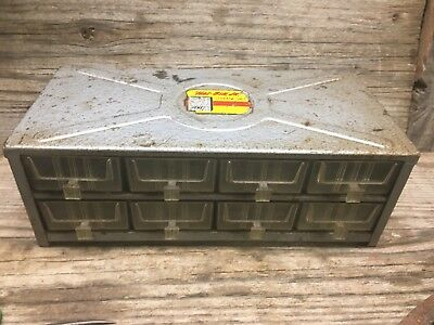Vintage Metal Akro-mils Haz-bin Jr. 8 Plastic Drawer Small Parts Cabinet