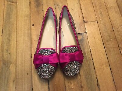 KATE SPADE NEW YORK GLITTER FLAT LOAFERS WITH SATIN BOW NEW SIZE 5.5