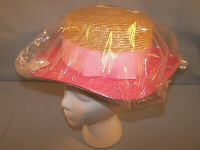 Candy Pink Sun Hat - ISAAC MIZRAHI LIVE Natural Straw BOATER SUN HAT Ribbon Trim - BRIGHT CANDY PINK