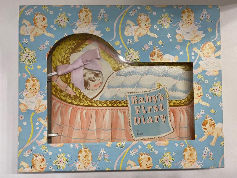 Vintage 1953 Baby Diary Keepsake Memory Photo Record Book Bassinet Pink Blue