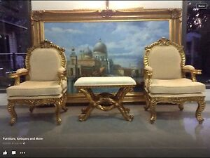 Magnificent statement pieces x 3 (2 armchairs 1 stool/table) Ashmore Gold Coast City Preview