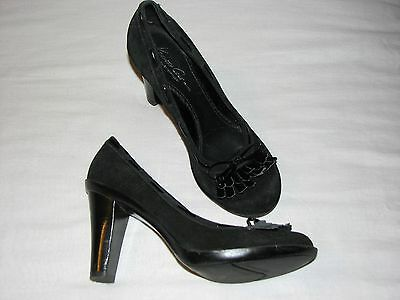 7 M Kenneth Cole Silver Technology Grand Stand Black Suede Oxford High Heels 4