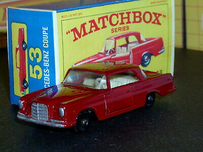 Matchbox Lesney Mercedes 220SE Coupe 53 b5 red 36BPW SC8 EX/NM & crafted box