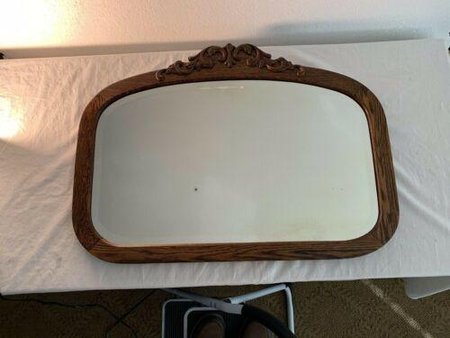 Antique Oak Beveled  Mirror