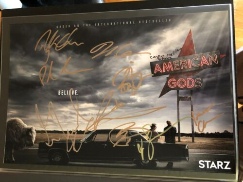 AMERICAN GODS SIGNED PHOTO CAST 12X18! RICKY WHITTLE IAN MCSHANE AUTOGRAPH