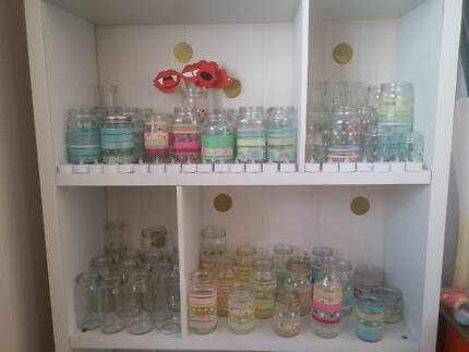 Bulk Lot Glass Jars decorated- with Tea lights and String lights