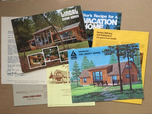 Vintage 1976 LINDAL CEDAR HOMES Plan Book w/Guide, Paperwork, etc.