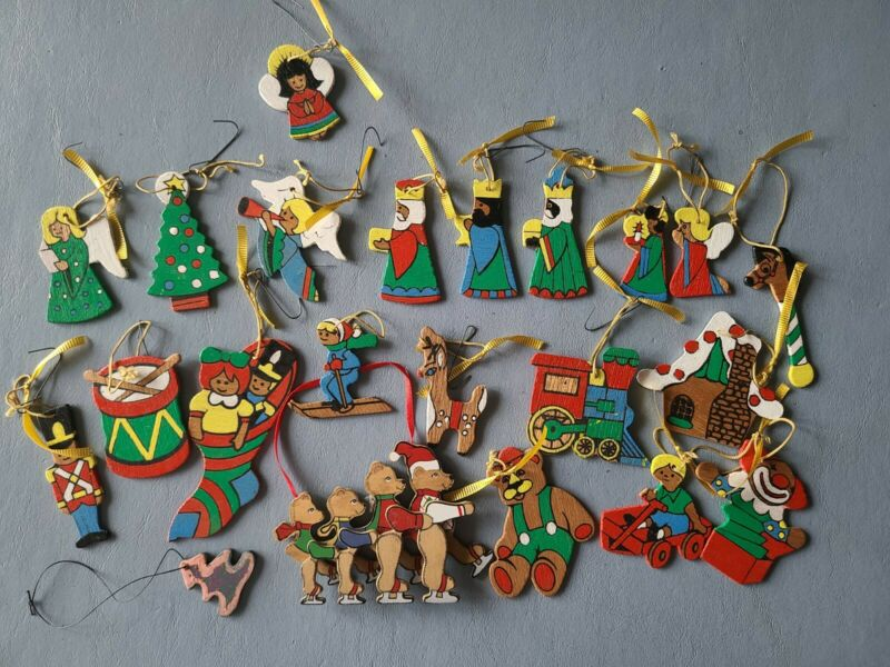 Lot of 22 Vintage Christmas Ornaments Handmade Painted Wooden Flat Ornaments