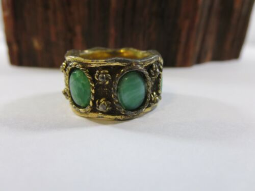 Vintage Silver Southwestern Jade Wide Band Mens Ring Size 8 GP1