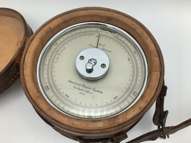 Vintage Surveying Altimeter~Leather Case~USA~American Paulin System~Model A-2
