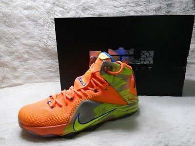 33414a099f40 Nike LeBron 12 XII Six Meridians Mens Size 10 Basketball Orange Blue FREE  S H