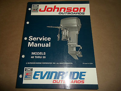 1992 Johnson Evinrude Outboards 40 thru 55 Service Manual OEM Boat 508143 x