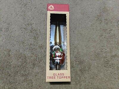 Disney Parks Christmas Holiday Blown Glass Tree Topper Santa Mickey Mouse NIB