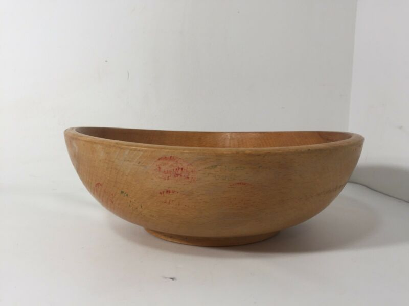 """VTG 10"""" Turned Wooden Fruit Bowl Farmhouse"""