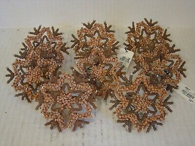 SET OF EIGHT PIER 1 IMPORTS BROWN STAR AND SNOWFLAKE NAPKIN RINGS NEW WITH TAGS