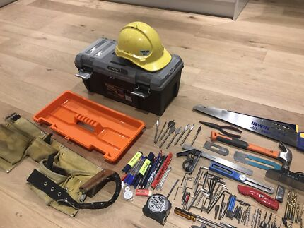 Toolbox with hand tools, tool belt, labouring, carpentry
