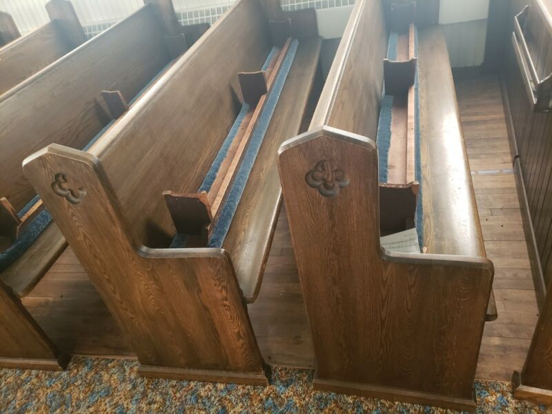 Antique pre 1900 Church pews with kneelers 10