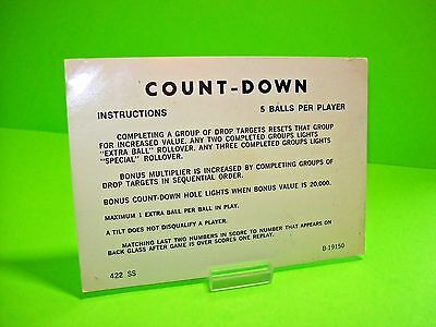Gottlieb COUNT-DOWN Orig Pinball Machine Instructions Card 2-Sided 3/5 Balls #2