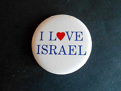 Vintage I Love Israel Cause Souvenir Pinback Button