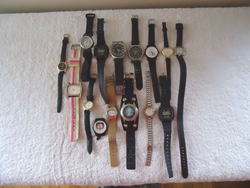 """Mixed Lot Of 15 Wrist Watches Of Various Brands,Styles,Types,etc."""" GREAT LOT """""""