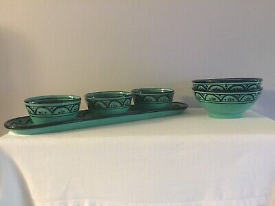 Pottery Barn Karasa Platter w/3 Small Condiment & 2 Large Condiment Bowls