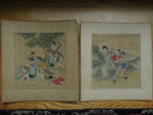 price reduced 2 ORIENTAL WATERCOLORS ON SILK SIGNED
