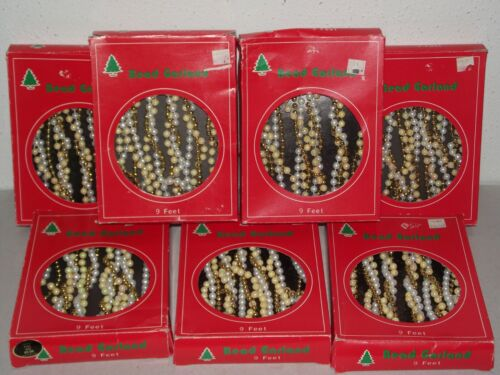 7pc Lot New Christmas tree bead garland 9 feet faux white pearl gold iridescent