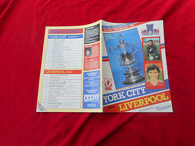 YORK CITY  V LIVERPOOL F.A. CUP  PROGRAMME FROM 1986