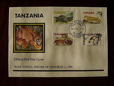 TANZANIA 1985 RARE ANIMALS of ZANZIBAR Official ILLUSTRATED F.D.C. 4 v to 17/50.