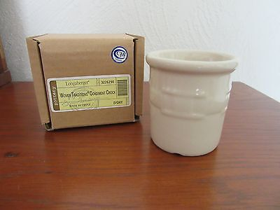 Longaberger Condiment Crock Ivory Pottery NEW in Original Box
