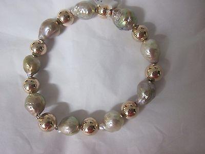 "Honora 10.5mm - 12.0mm Ming Cultured Pearl Bronze Bead Bracelet 7 1/4"""