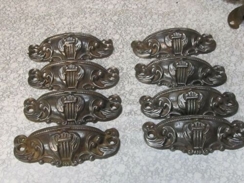 """Lot of 8 Vintage Cast iron Drawer Pulls  """" very fancy"""""""