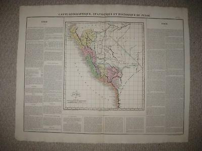 HUGE IMPORTANT FOLIO SIZE ANTIQUE 1825 PERU SOUTH AMERICA CARY & LEA MAP RARE NR