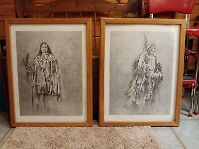 Lot of 2 large signed, numbered, framed Jason Haase prints native americans b&w 2 Large Framed Print